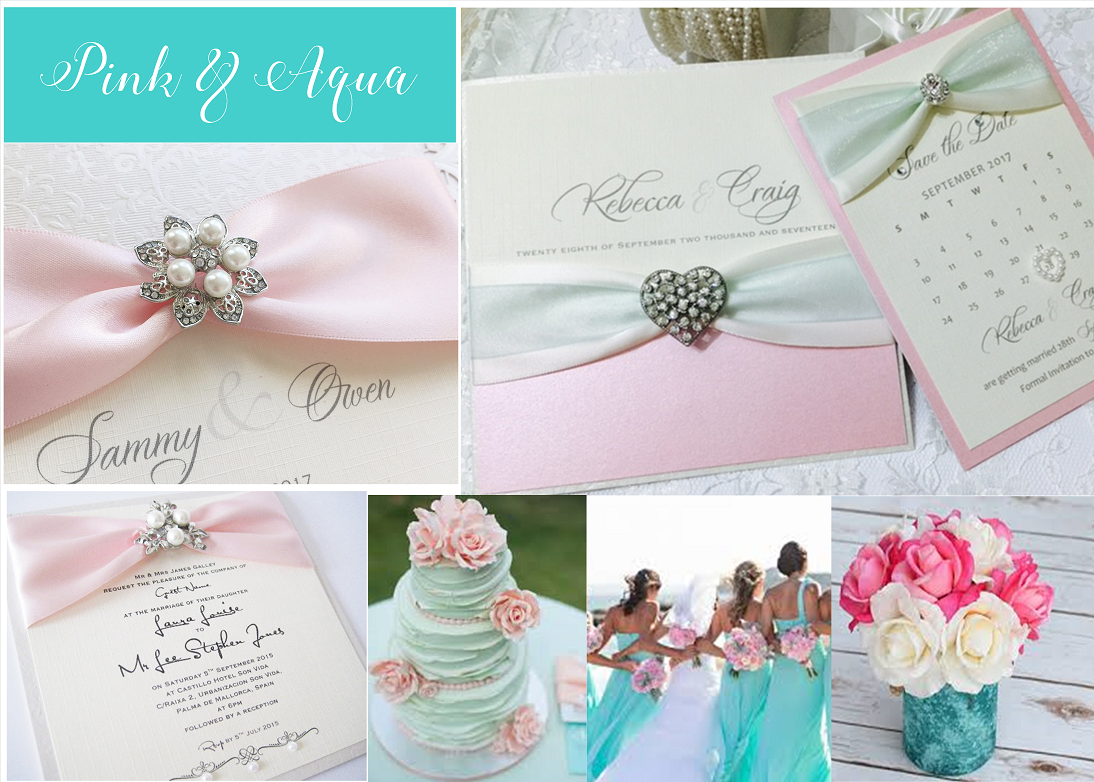 Aqua and Pink wedding invitations
