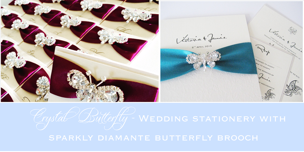 Diamante butterfly wedding invitations