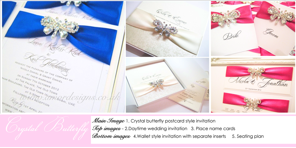 Diamante butterfly invitations
