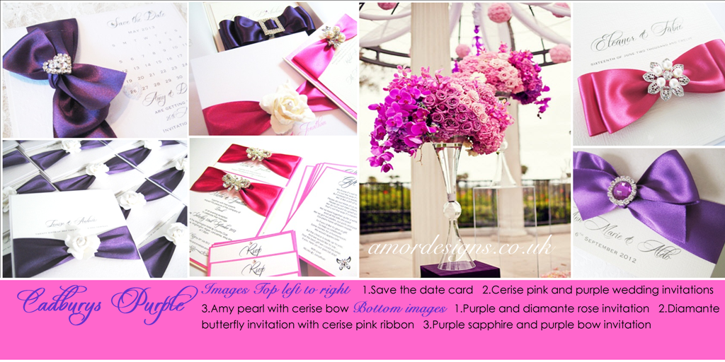 Hot pink and purple wedding invitations