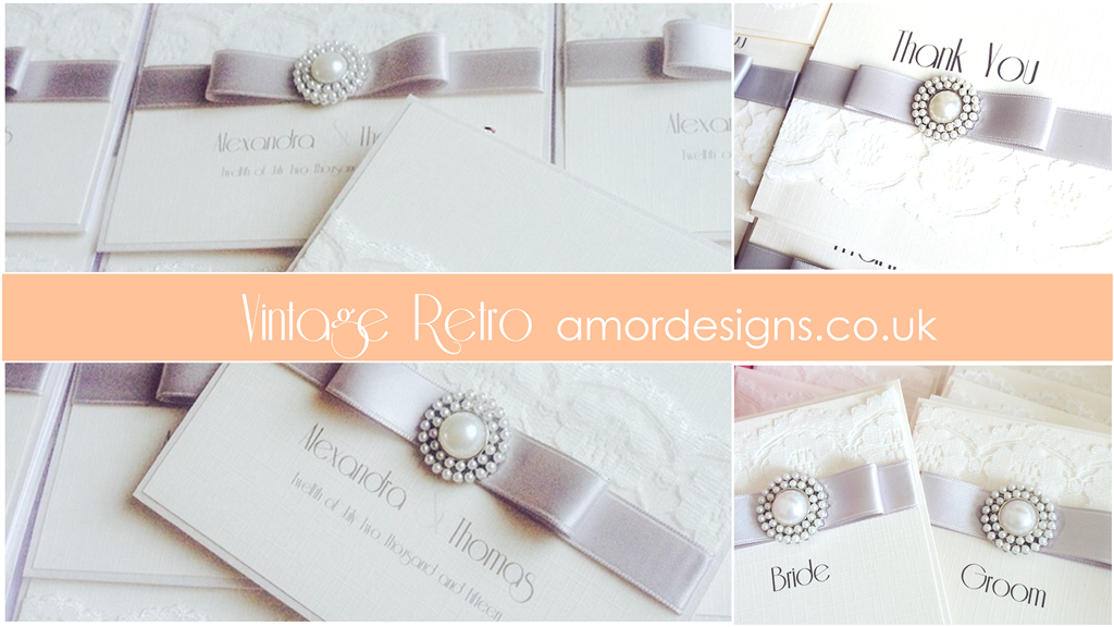 Vintage retro wedding invitations