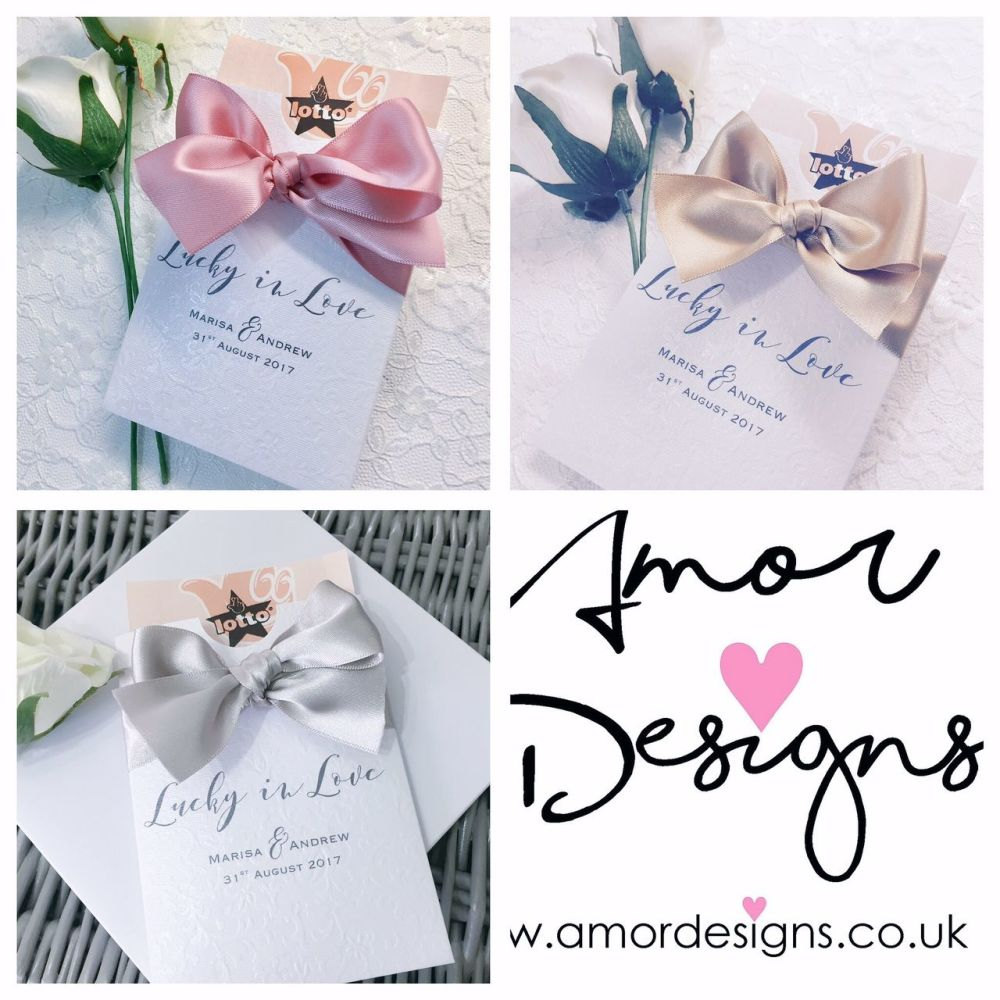 Personalised wedding favours lotto holder