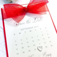 Save the Date Calendar Card with Organza Bow
