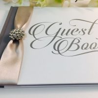 Personalised Guest Book in Silver and White with Ribbon and Brooch