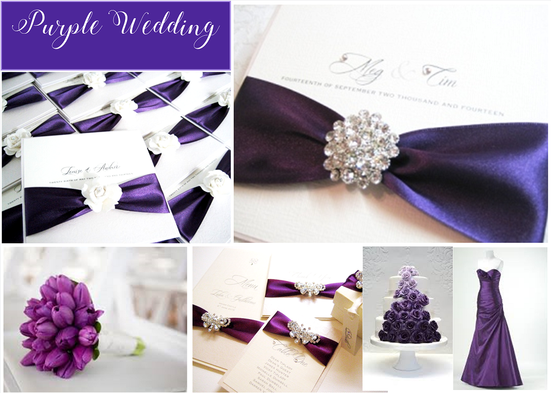 Purple wedding invitations with embellishments