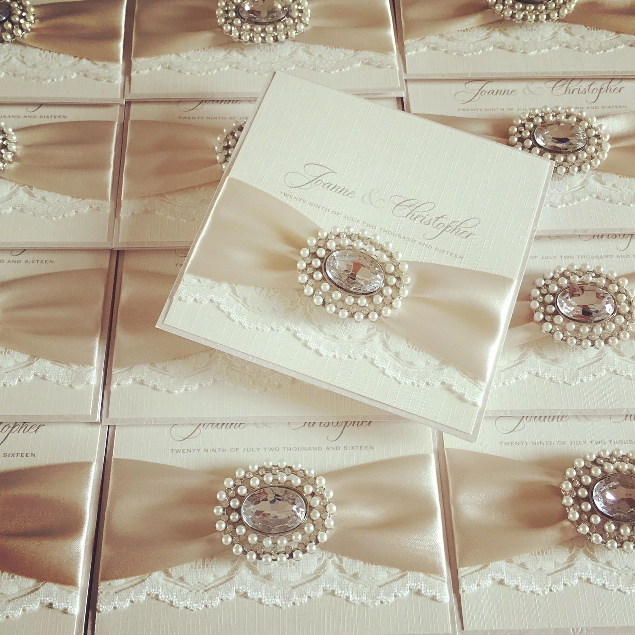 Lace wedding invitations with pearls
