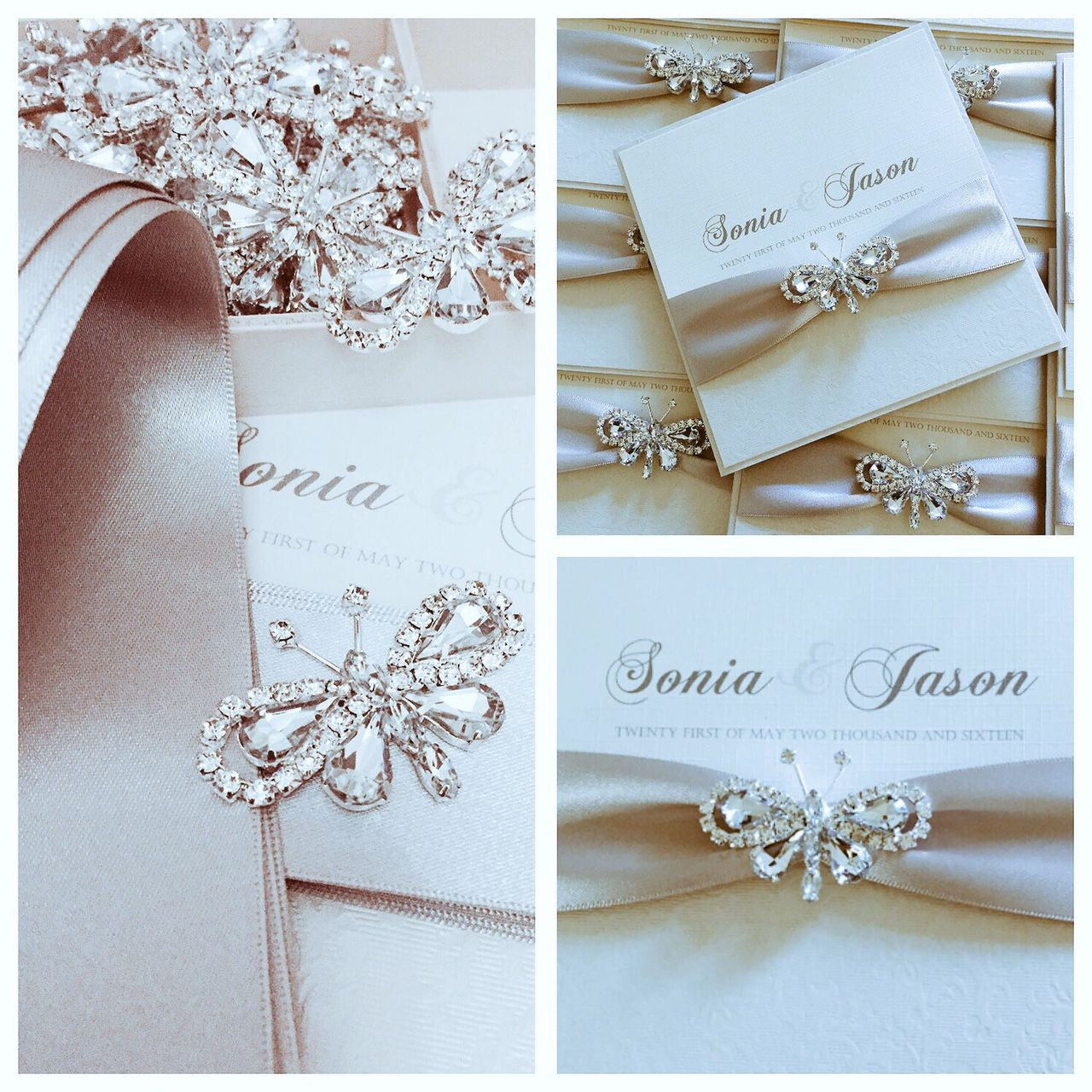Butterfly pocket style wedding invitations with silver ribbon