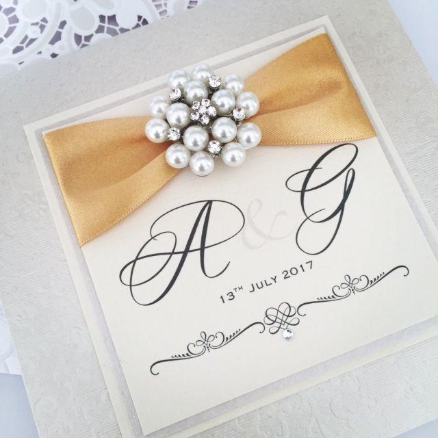 Vintage pocket style wedding invitations