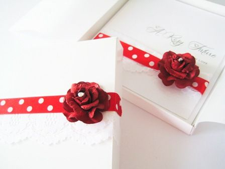 boxed rose wedding invitation