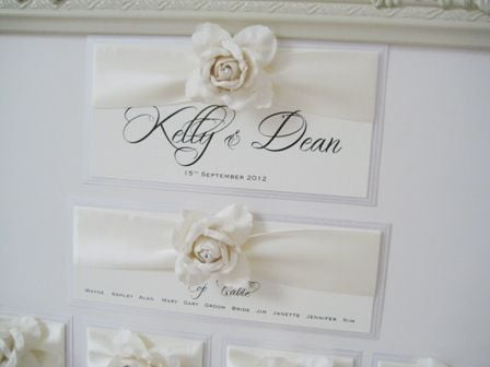 Rose seating plan in ivory with frame