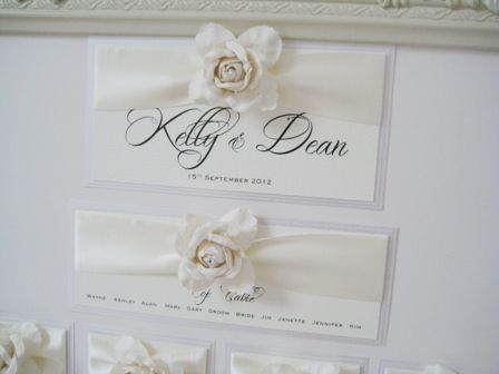 Rose seating plan in ivory with ornate frame