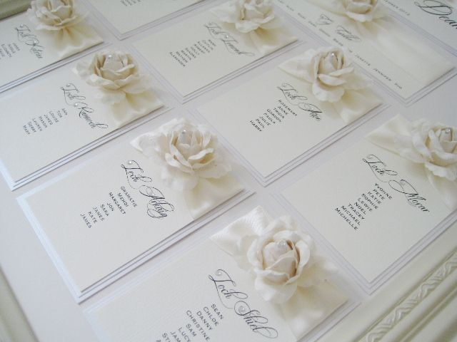 Beautiful ivory rose seating plan