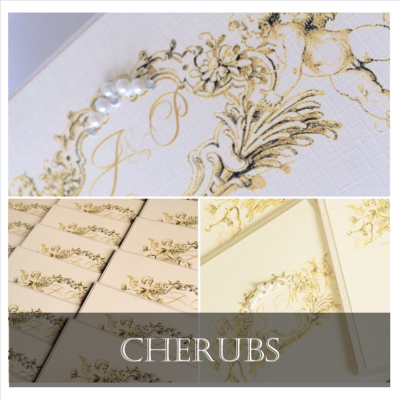 Cherub wedding invitations in gold