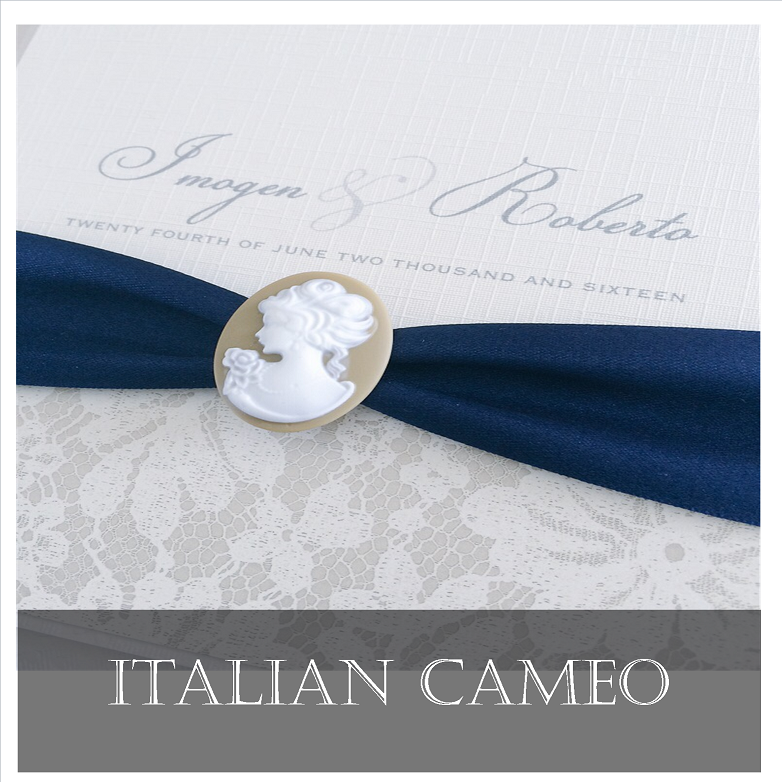 Italian cameo wedding invitations