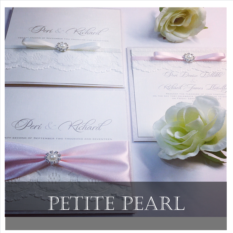 Classy invitation designs with small pearl detail