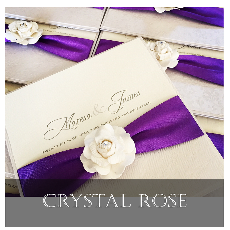 Luxury rose flower themed wedding invitations