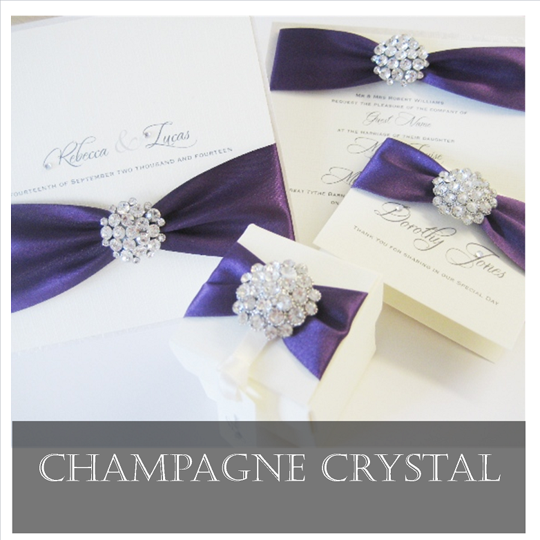Champagne crystal diamante invitations