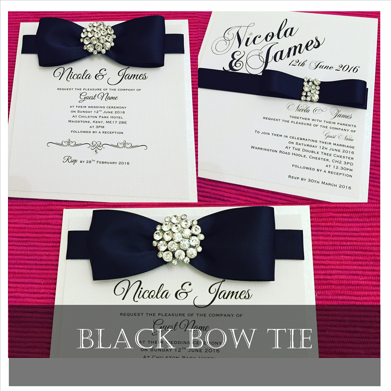 Black bow tie wedding invitation designs with crystals and diamante