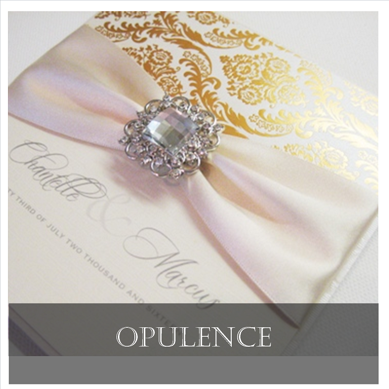 Opulent crystal ivory and gold luxury wedding invitations
