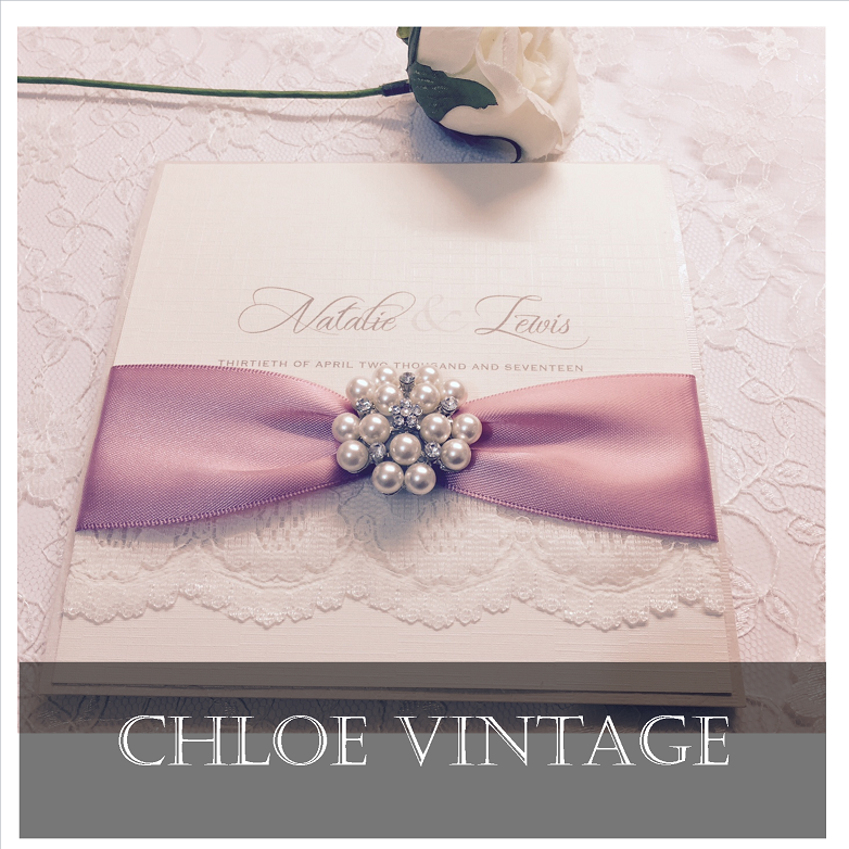 Luxury rose pink vintage style wedding invitations with lace and brooch