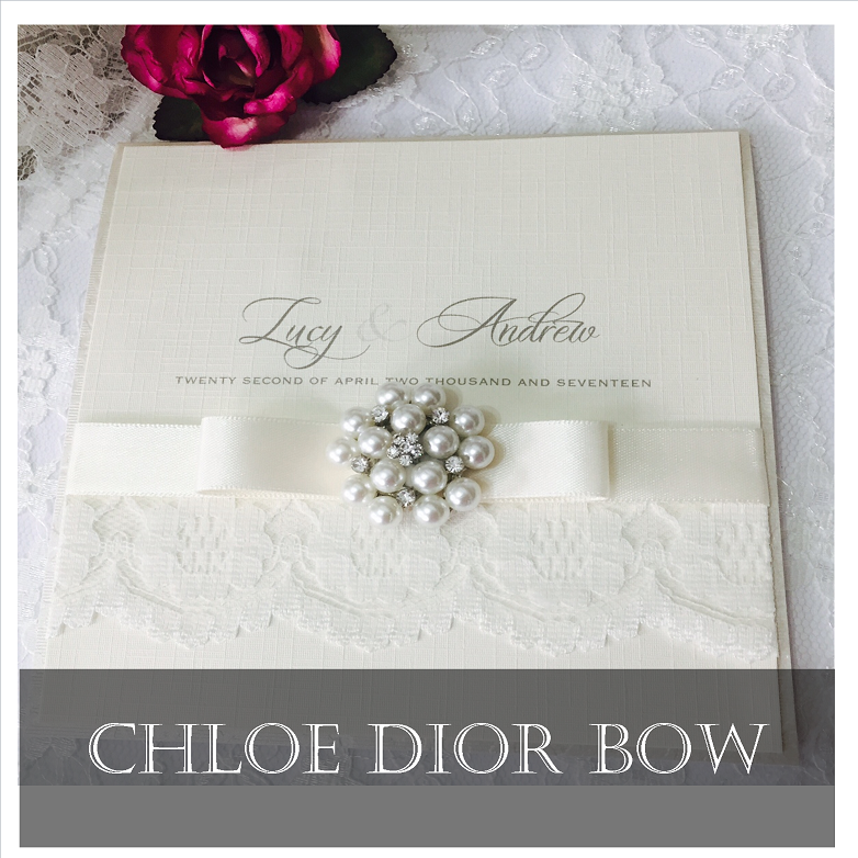 Pretty dior bow wedding invitations with lace and ivory ribbon