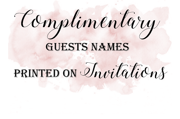 Free guest names printed on wedding invitations