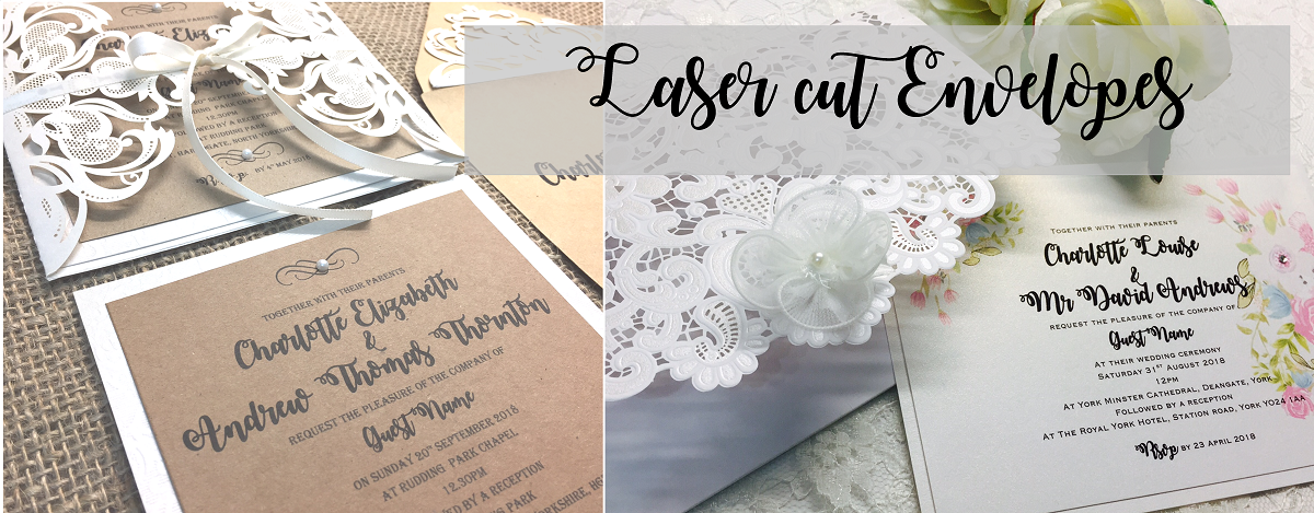 Laser cut lace envelope invitations in rustic and elegant styles