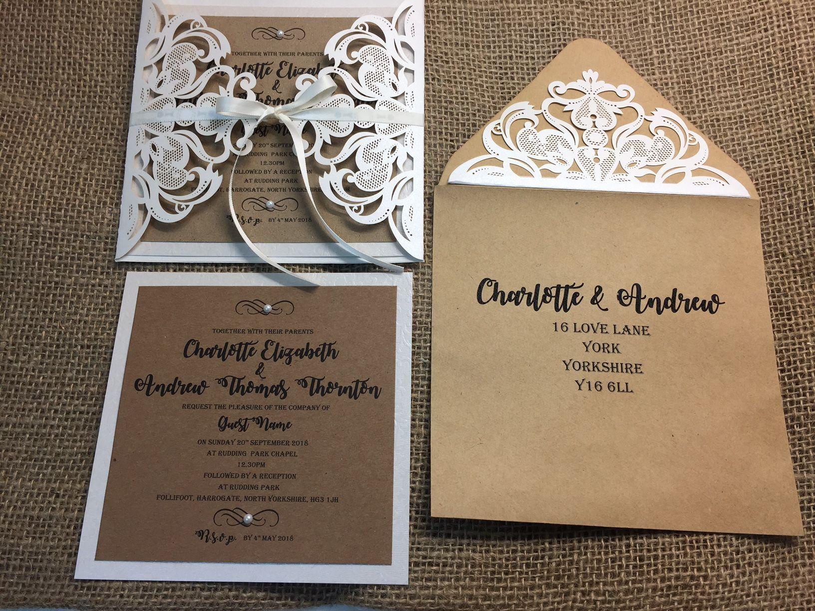 Rustic style laser cut lace wedding invitation