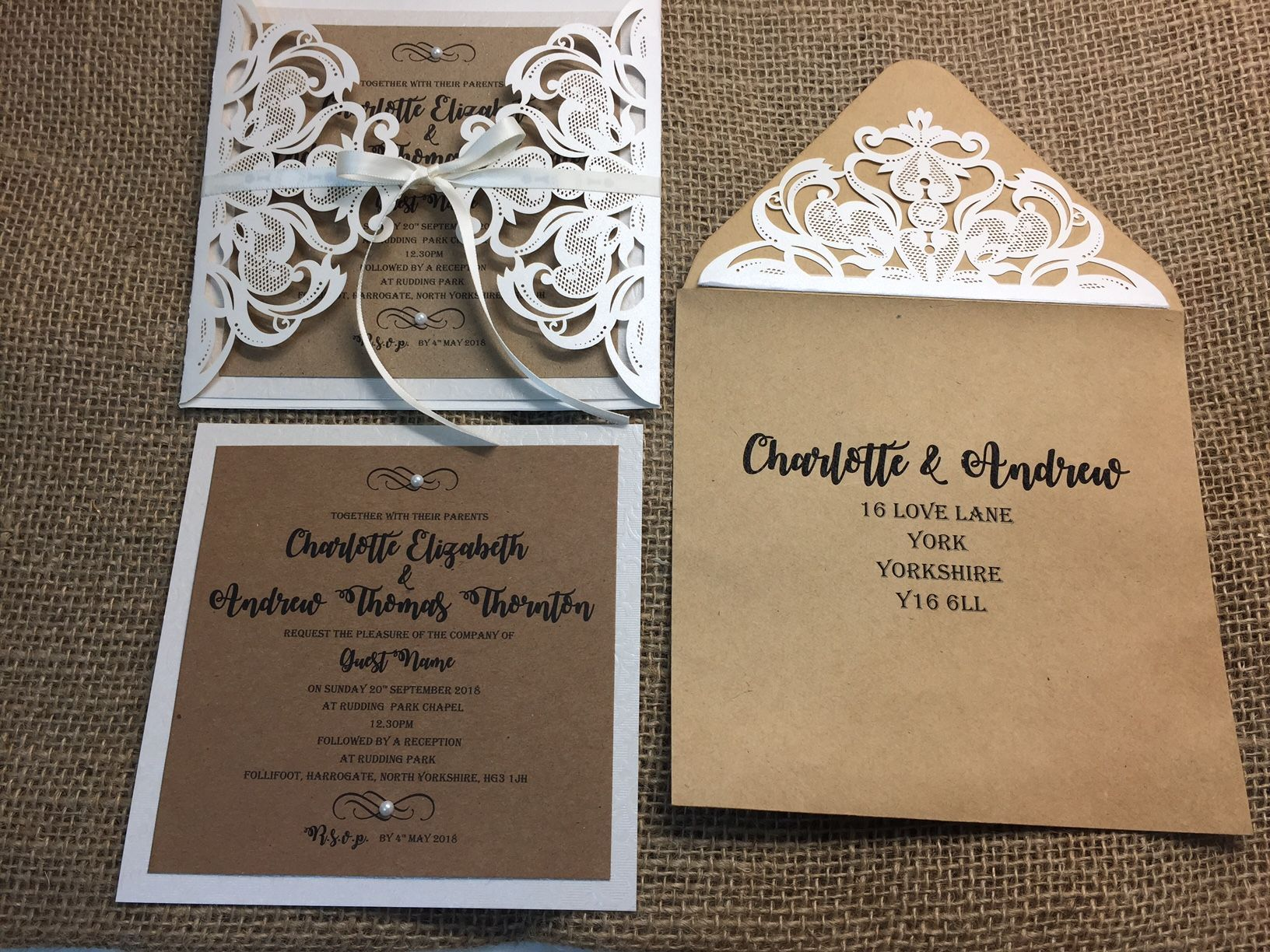 rustic laser cut wedding invitations