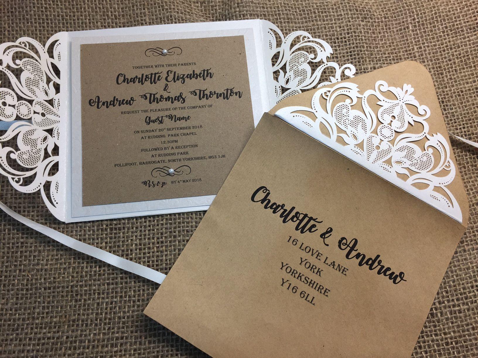 Rustic Laser Cut Envelope Invitation Designs