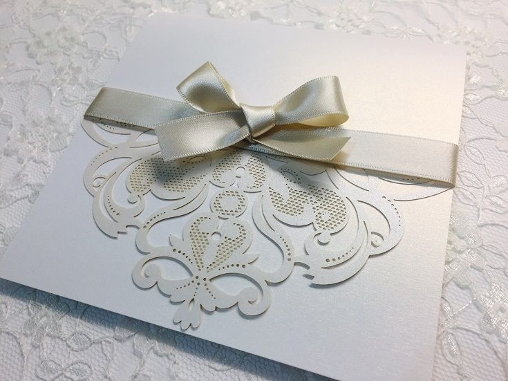 Champagne ivory laser cut pocket invitations