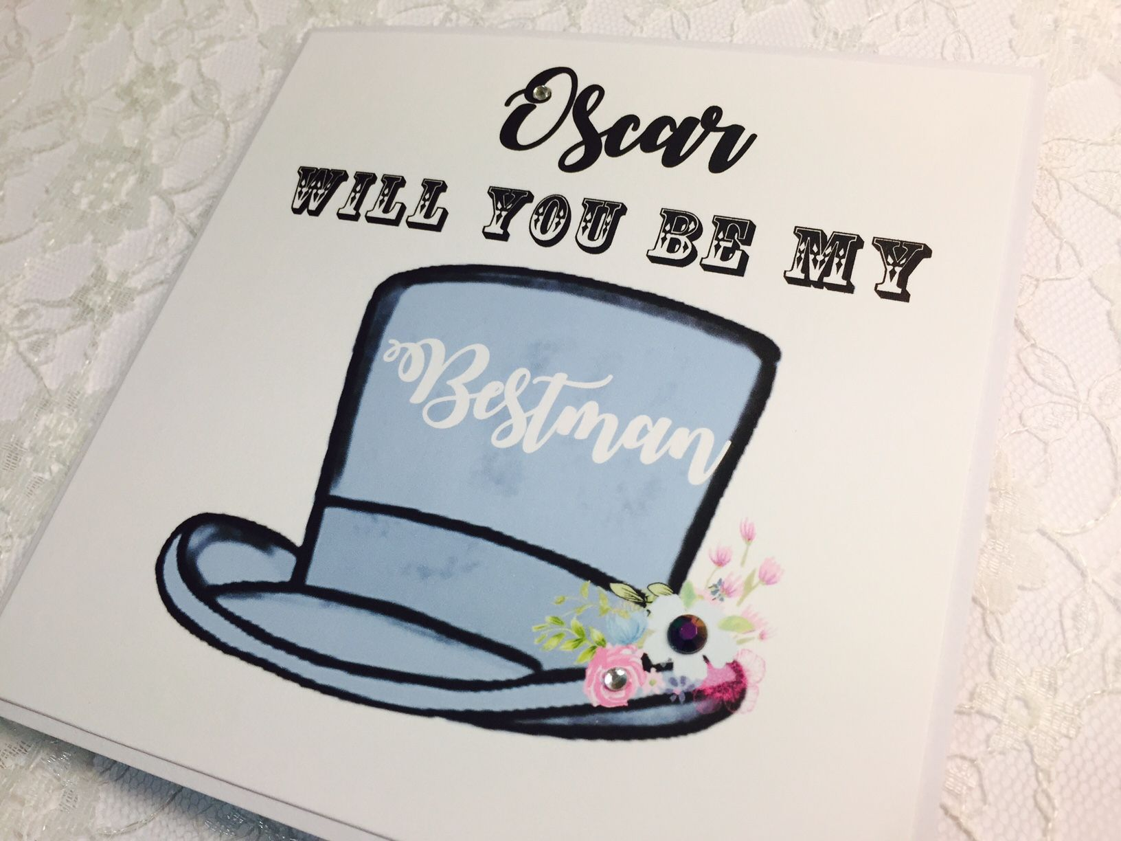 Be my bestman hat personalised card