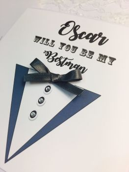 bestman card with bow tie and suit