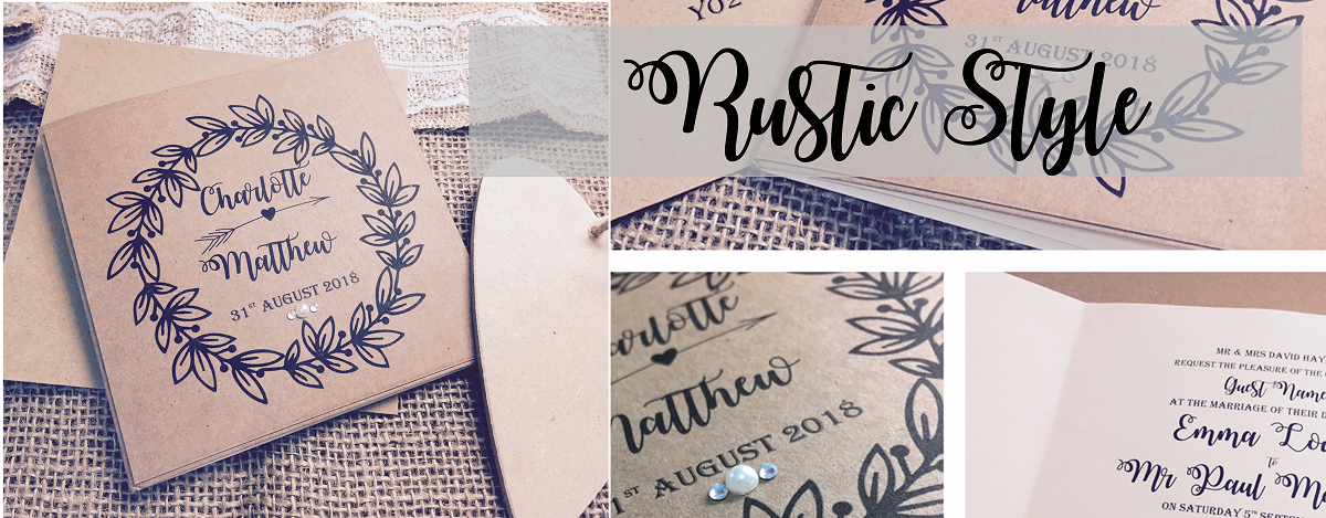 Rustic invitation designs created for rustic wedding themes