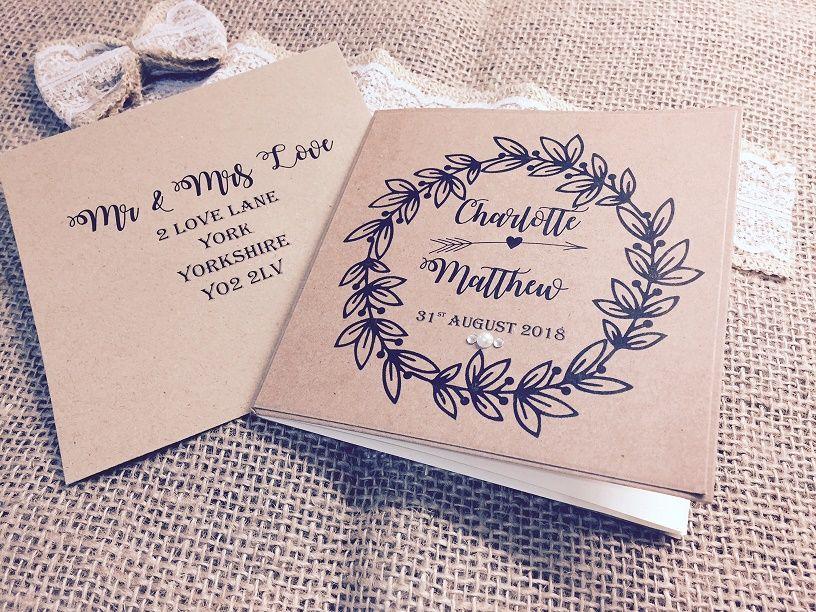 Rustic wedding invitation with wreath print