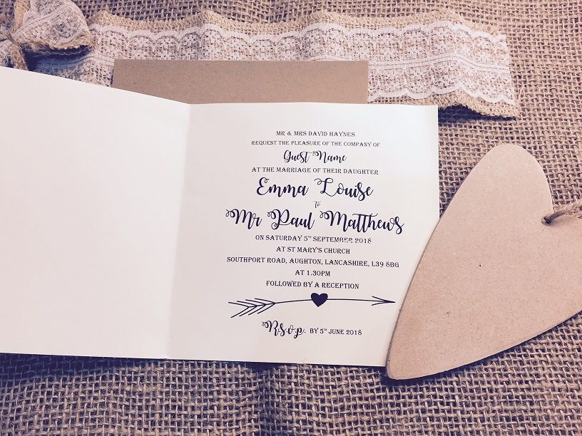 Ivory inserts for rustic invitation