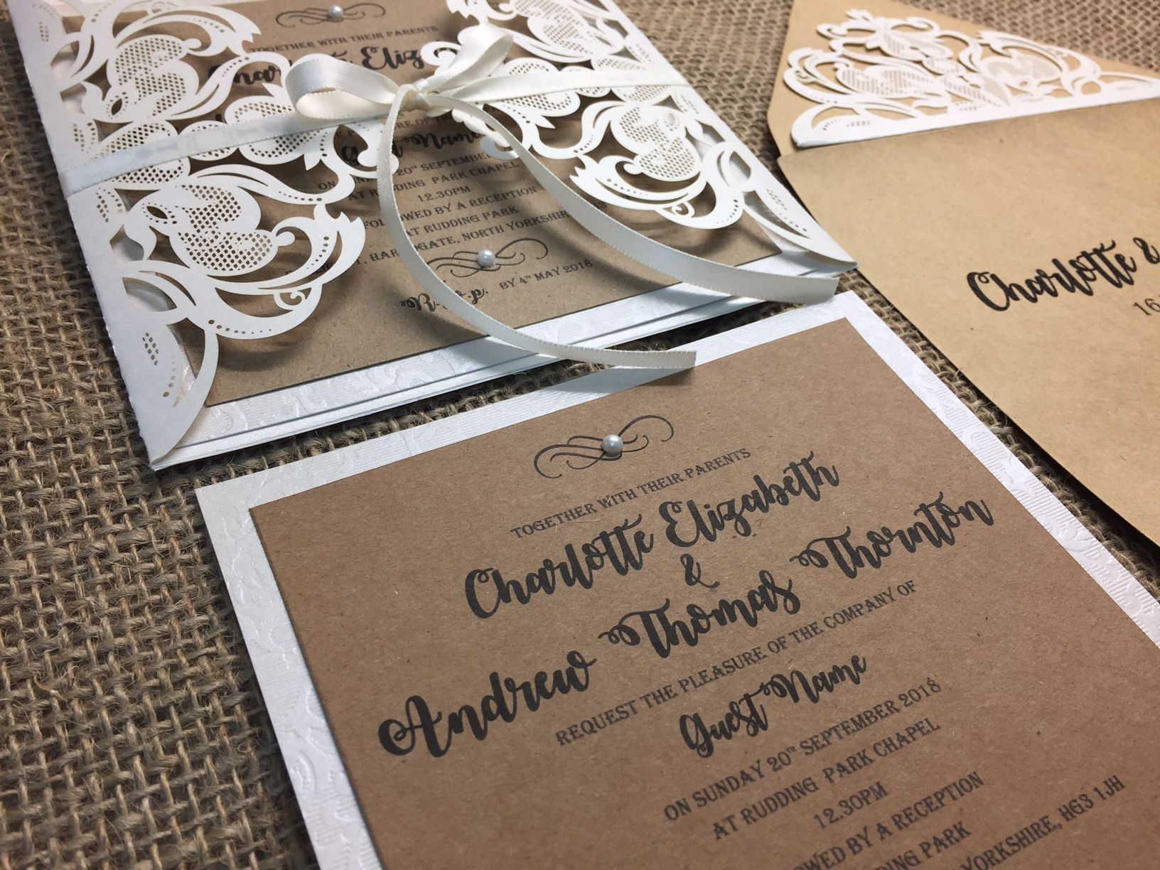 rustic style invitations with laser cut card