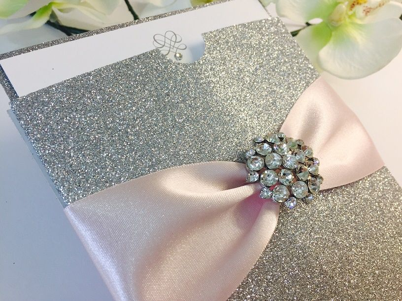 Sparkly Glitter Wedding invitations with stylish sparkle brooch