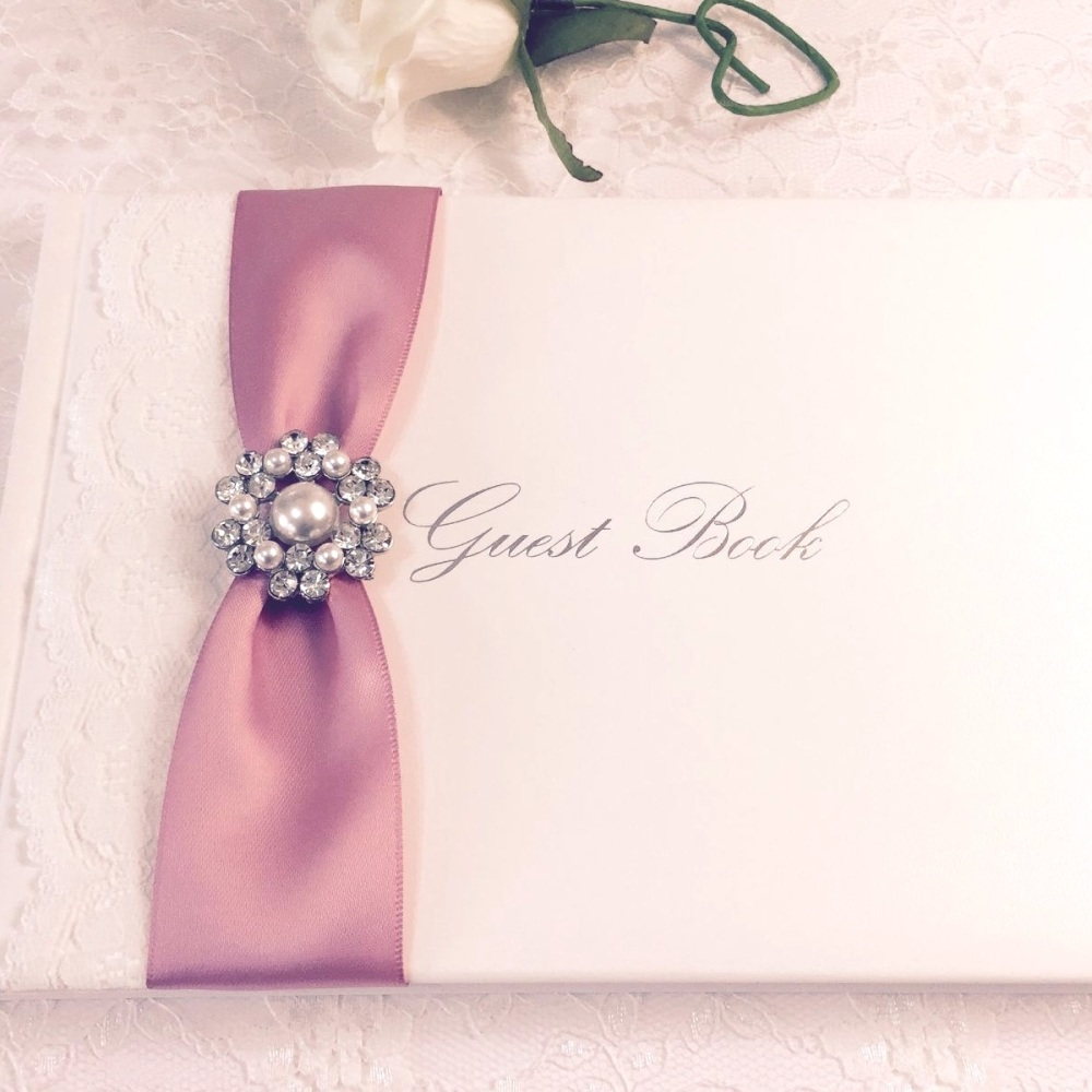 Guest Book with Lace and Pearl Brooch