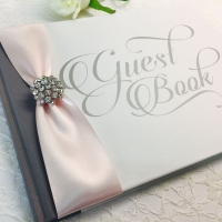 White Guest Book with Blush Pink Ribbon and Diamante Brooch