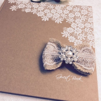 Personalised Rustic Vintage Guest Book with Lace Bow