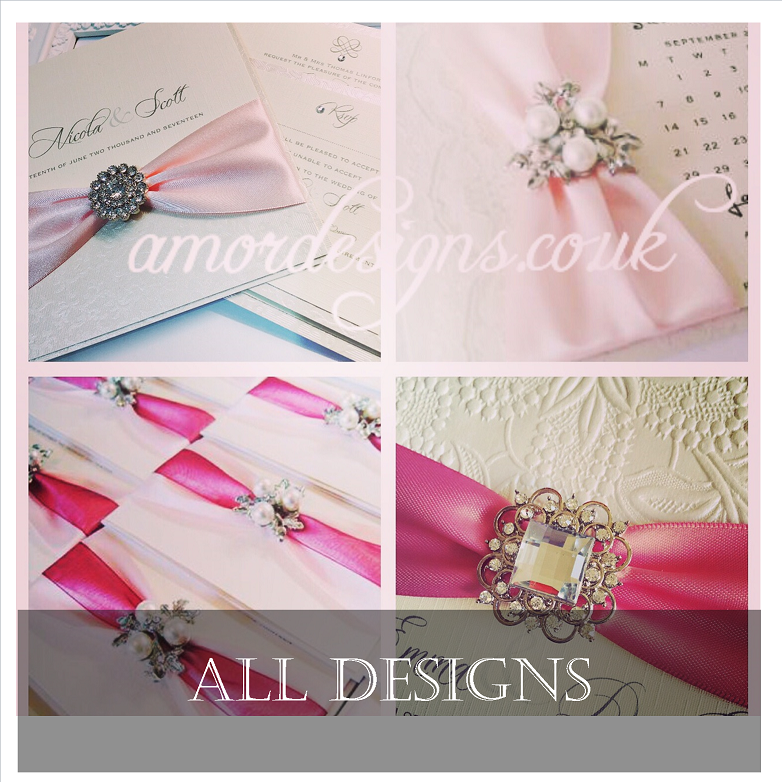 Luxurious wedding invitations with brooches