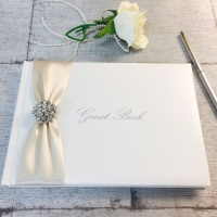 Wedding Guest Book with Diamante Brooch and Ribbon Personalised
