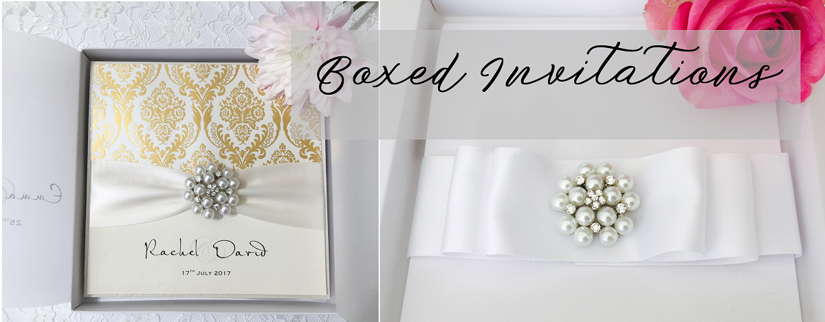 Boxed wedding invitations by Amor Designs