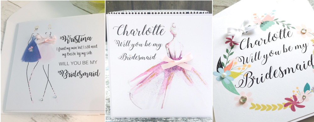 Bridesmaids, Maid of Honour and Flower Girl personalised cards