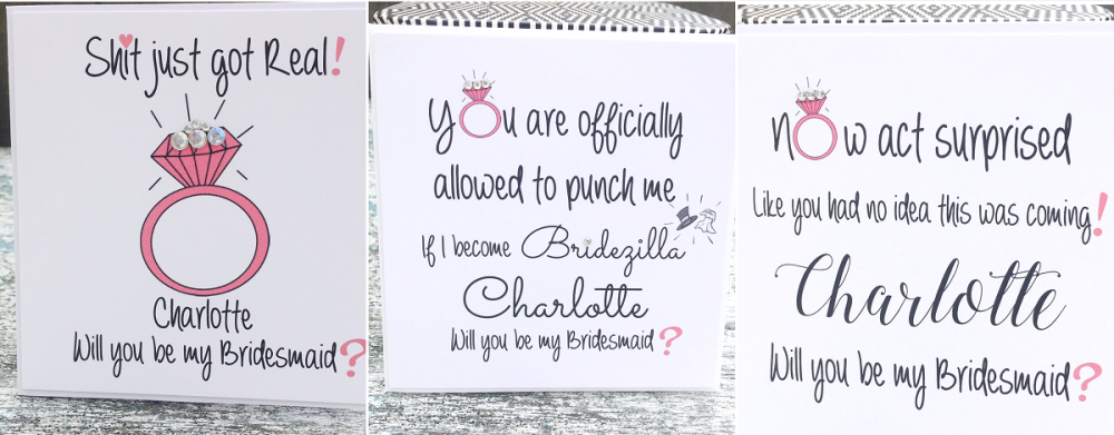Funny quotes cards for Bridesmaids