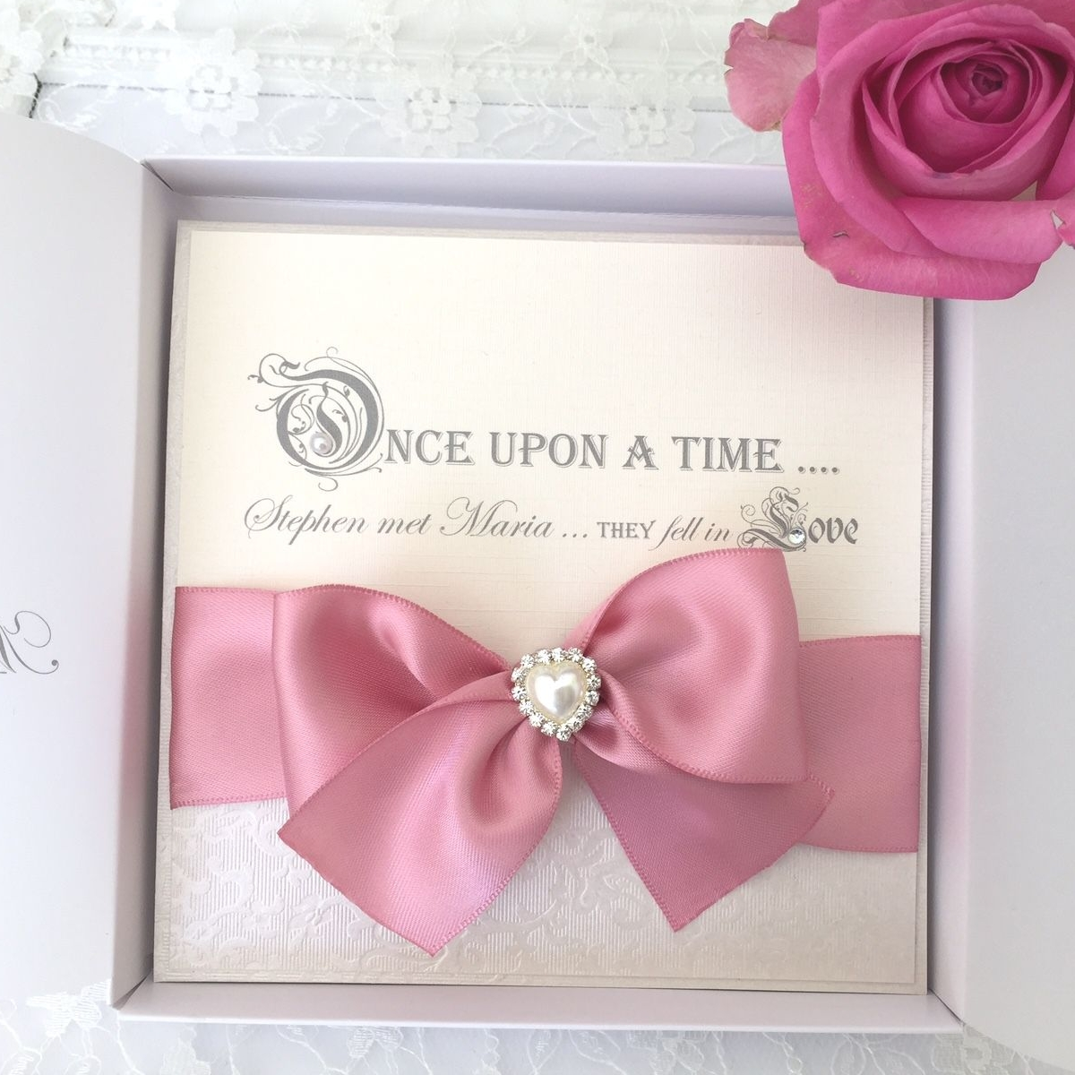 fairytal quotes boxed wedding invitation with dusky pink ribbon