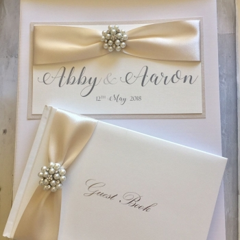 Wedding Post Box with Matching Guest Book - Chloe Pearl