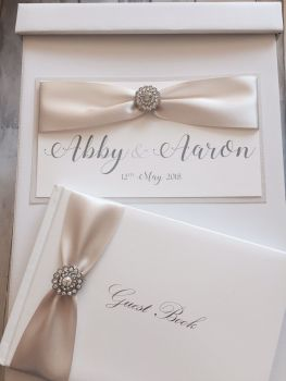 Wedding Card Post Box with Vintage Crystal and Guest Book - Romance