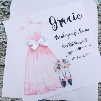 Pink Bridesmaid Dress Thank you Card